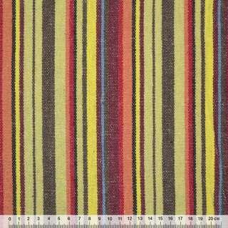 """ткань """"этно"""" корич.-желтые+бордово-красные полоски ш.150"""