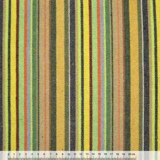 Тканина етно жовто-салатові, бежево-зелені смужки ш.150