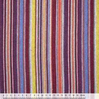 """ткань """"этно"""" бордово-желтые + сиренево-голубые полоски ш.150"""