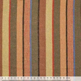 """ткань """"этно"""" оранжево-крас.+бежево-оливковые полоски ш.154"""