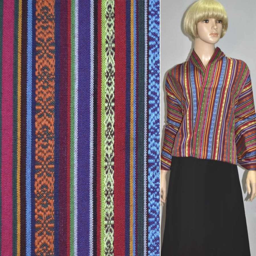 """ткань """"этно"""" фиолет.+красн.+желт. полосы с орнам. ш.150"""
