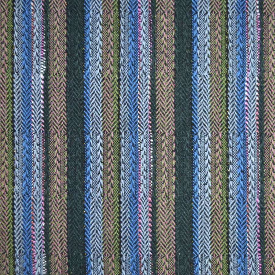 ткань кост. этно в т/зел+ голубую+ роз. полоску, ш.150