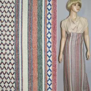 Ткань этно молочные, красно-зеленые полоски с орнаментом ш.150