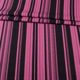 Лен малиновый в черные полоски ш.143