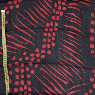 Вискоза черная в красный абстрактный рисунок