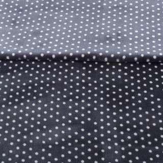 Велсофт односторонній синьо-сірий в білий горох, ш.180