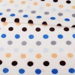 Велсофт односторонній білий в синій, сірий, коричневий горох, ш.180