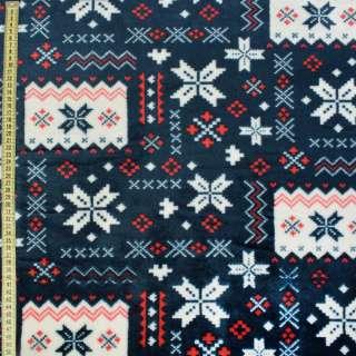 Велсофт двухсторонний синий темный в красно-белый орнамент ш.185