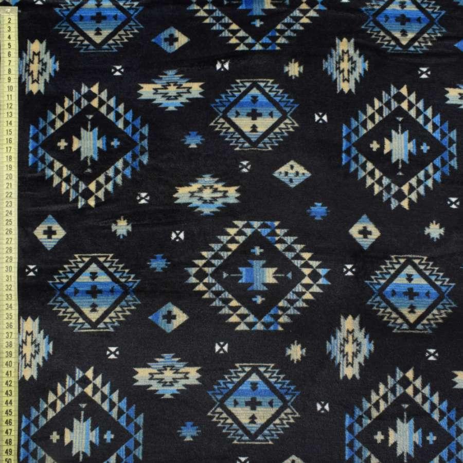 Велсофт синий темный в бежево-голубой орнамент ш.185