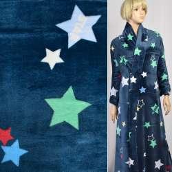 Велсофт (махра) двосторонній синій в різнокольорові зірки, ш.180