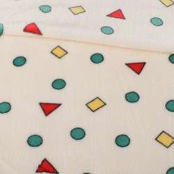 Велсофт двосторонній молочний в кольорові трикутники, кружечки, ш.180