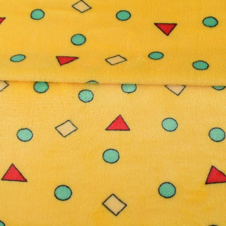 Велсофт двосторонній жовтий в кольорові, трикутники, кружечки, ш.180
