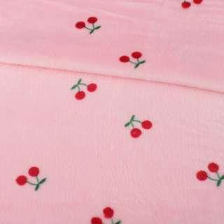 Велсофт двухсторонний розовый в красные вишни, ш.180