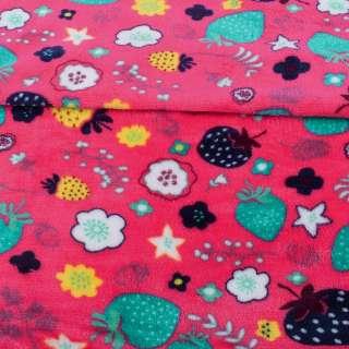 Велсофт двухсторонний малиновый яркий, разноцветные ягоды, цветы, ш.180