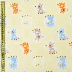 Велсофт двосторонній кремовий, сірі, блакитні ослики, жирафи, ш.185