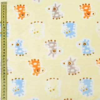 Велсофт кремовый, серые, голубые ослики, жирафы, ш.185
