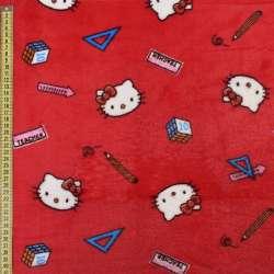 Велсофт двосторонній червоний, кішечки Кітті, ш.185