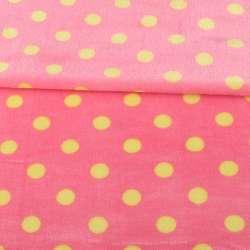 Велсофт двосторонній рожевий яскравий в жовтий горох, ш.160