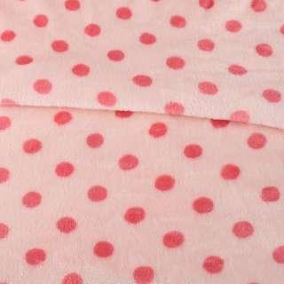 Велсофт двухсторонний персиковый в темно-розовый горох ш.160