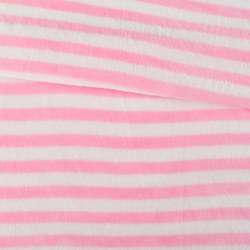 Велсофт двосторонній білий в рожеву смужку, ш.160