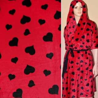 Велсофт-махра красная с черными сердцами ш.190