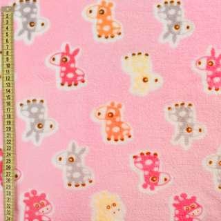 Велсофт двухсторонний розовый, оранжевые, розовые ослики, жирафы, ш.185
