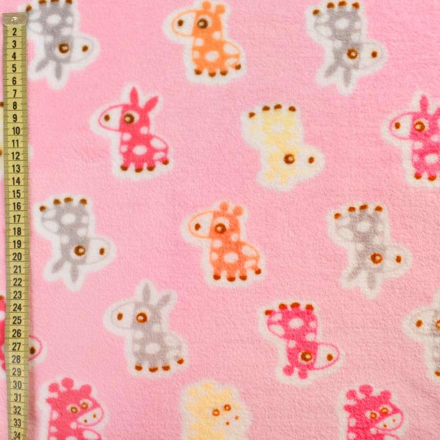 Велсофт розовый, оранжевые, розовые ослики, жирафы, ш.185