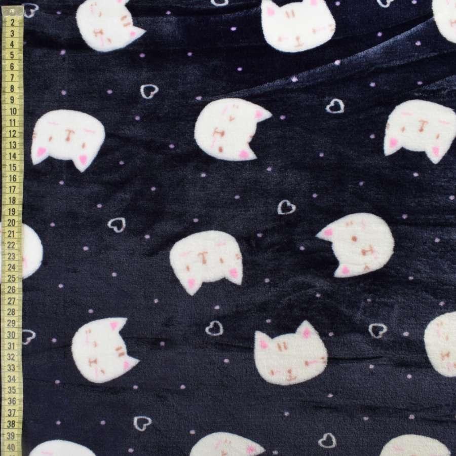 Велсофт синий темный, белые кошки, сердечки, ш.185