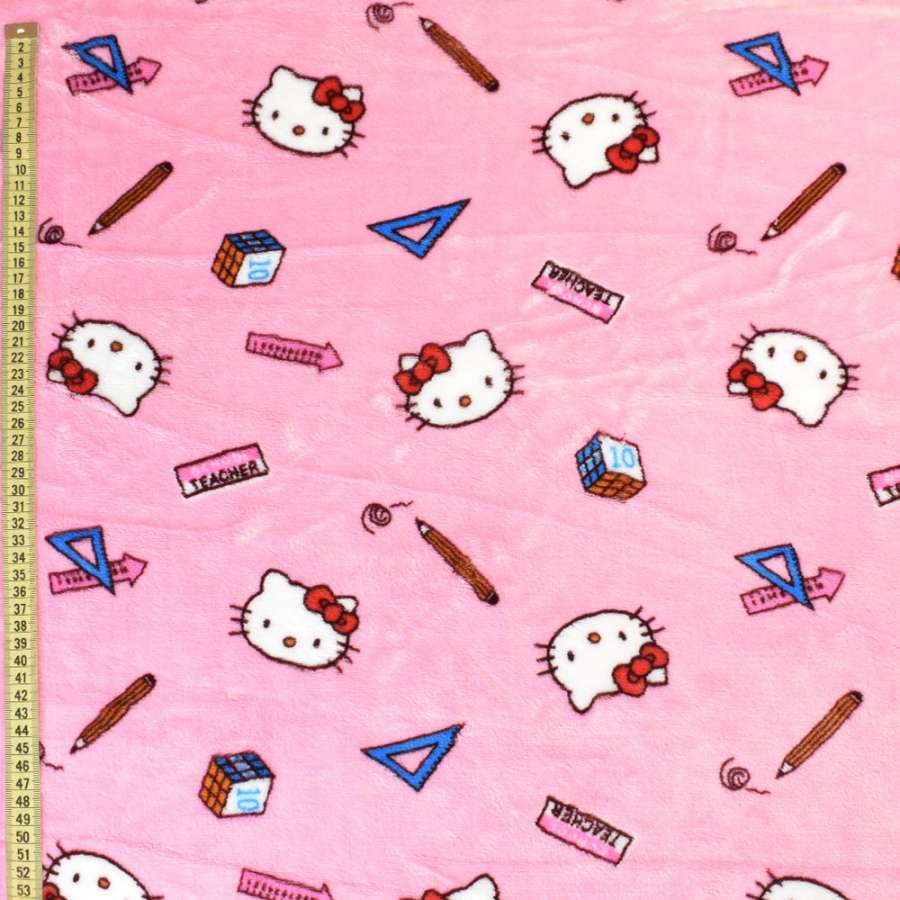 Велсофт двухсторонний розовый светлый, кошечки Китти, ш.185