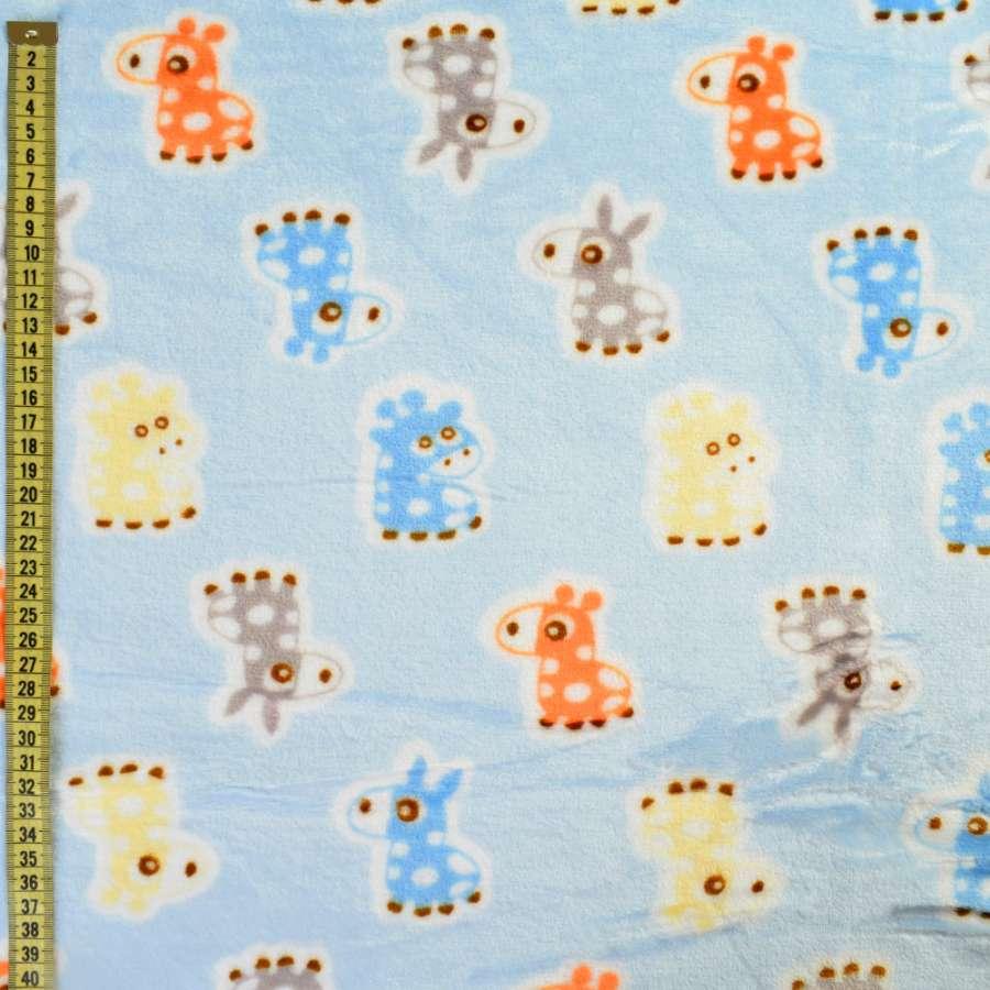 Велсофт двухсторонний голубой, оранжевые, голубые ослики, жирафы, ш.185