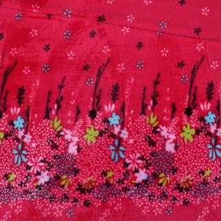 Велсофт двухсторонний красный купон цветы ш.190