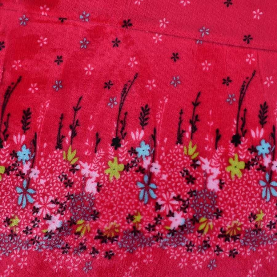 Велсофт-махра двухсторонняя красная купон цветы ш.190