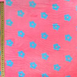 Велсофт двухсторонний розовый в голубые цветочки, ш.220