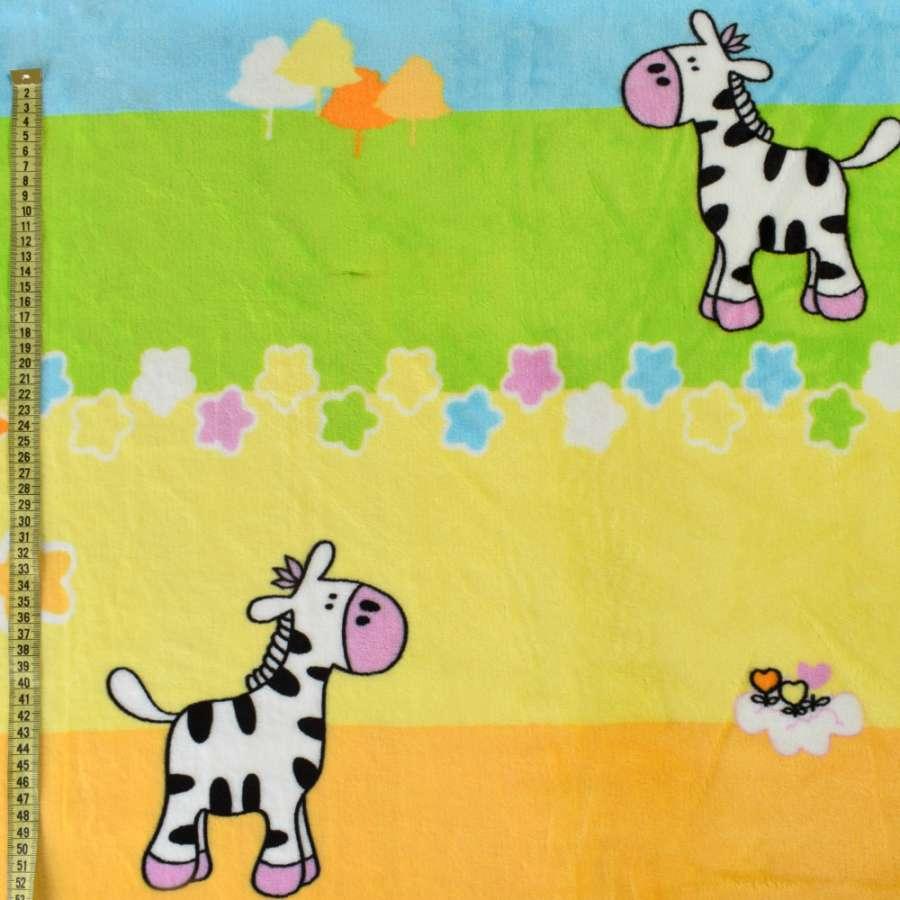 Велсофт двухсторонний оранжевый + желтый, зеленый, голубой, черно-белые коровки, ш.220