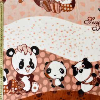 Велсофт двухсторонний коричневый, мишки-панды, ш.220