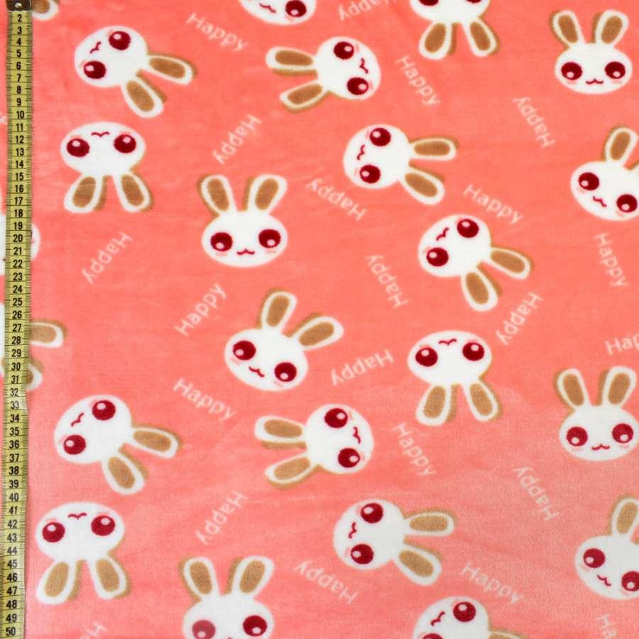 Велсофт персиковый, белые зайчики, ш.220