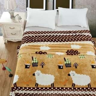 Велсофт двухсторонний бежевый, домики, овечки, коричневая кайма в белый горох, ш. 220