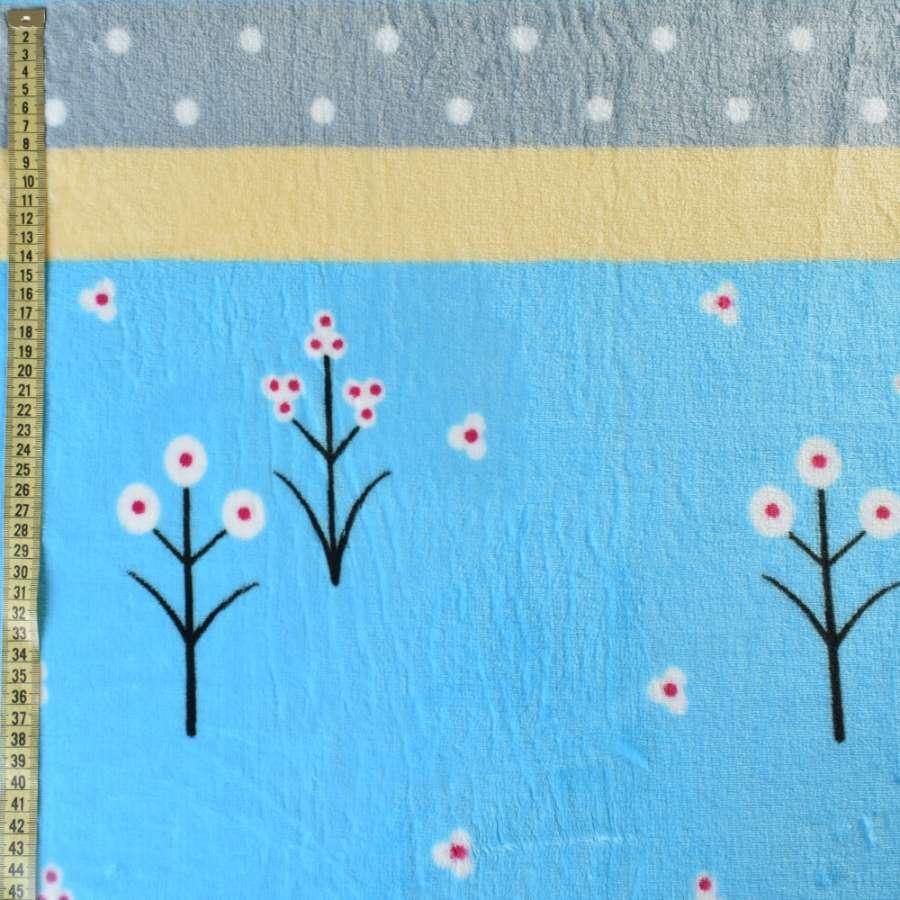 Велсофт голубой светлый, желтые, серые полоски, белые цветы, горох, ш.220
