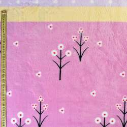 Велсофт двухсторонний сиреневый, желтые, лавандовые полоски, белые цветы, горох, ш.220