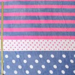 Велсофт двухсторонний бело-розово-серый в полоски и горох, ш.220