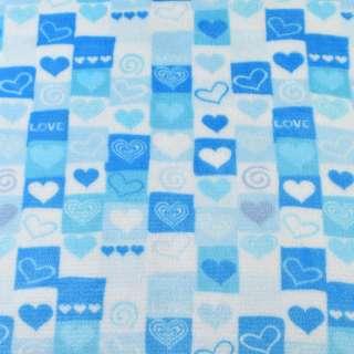Велсофт двухсторонний бело-голубой в сердца и квадраты ш.186