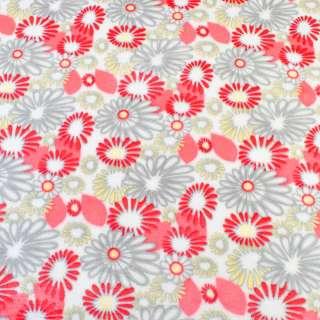 Велсофт двухсторонний белый в серо-желто красные цветы ш.185