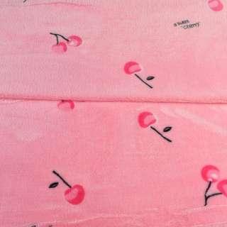 Велсофт двухсторонний розовый, красные вишни, ш.185