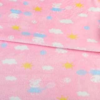 Велсофт двухсторонний розовый, свинка Пеппа, облака, солнце, ш.185
