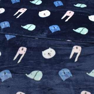 Велсофт двосторонній синій, різнокольорові котики, зайчики, ведмедики, ш.190