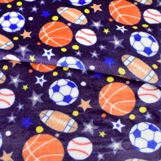Велсофт двухсторонний синий, спортивные мячи, звезды, ш.180