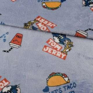 Велсофт двосторонній сіро-блакитний, Том і Джеррі, ш.185