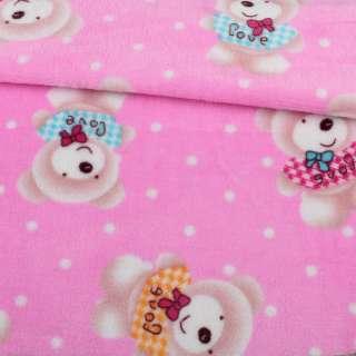 Велсофт двухсторонний розовый, бежевые мишки, ш.185