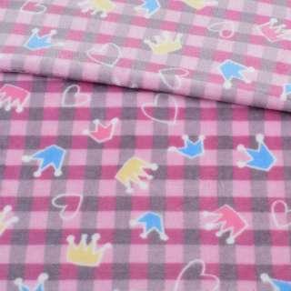 Велсофт двухсторонний в розово-серую клетку, цветные короны, сердечки, ш.185
