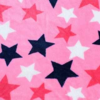 Велсофт двухсторонний розовый яркий, синие, белые, малиновые звезды, ш.180